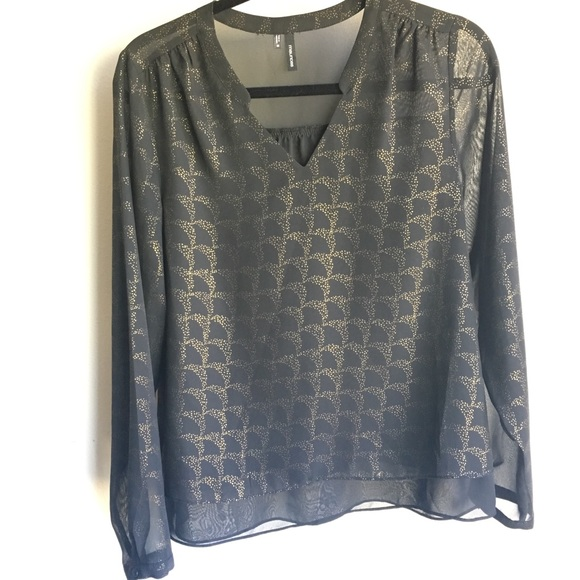 Maurices Tops - Sheer Maurices Blouse with Gold Detail